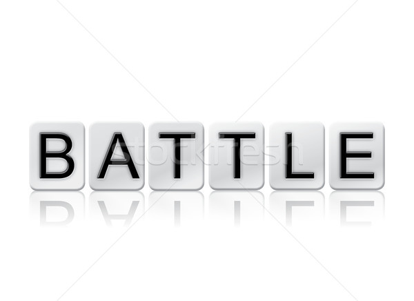 Battle Concept Tiled Word Isolated on White Stock photo © enterlinedesign
