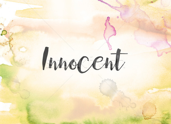 Innocent couleur pour aquarelle encre peinture mot écrit Photo stock © enterlinedesign