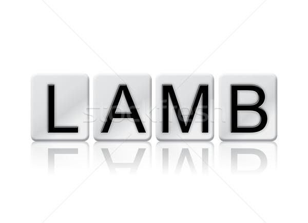 Cordero azulejos palabra aislado blanco escrito Foto stock © enterlinedesign