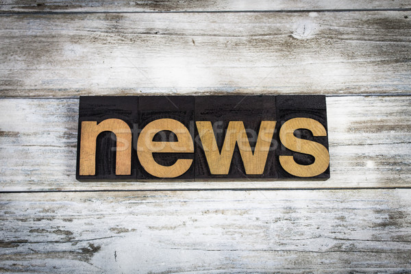 Stock photo: News Letterpress Word on Wooden Background