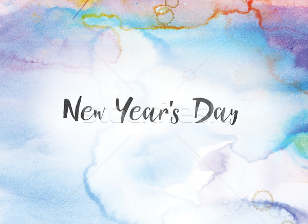 New Year's Day Concept Watercolor and Ink Painting Stock photo © enterlinedesign