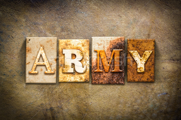 Army Concept Letterpress Leather Theme Stock photo © enterlinedesign