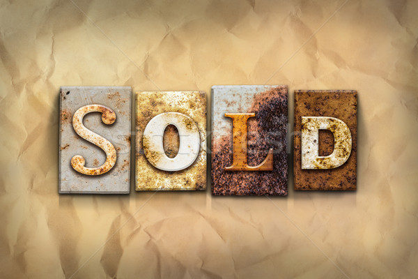 Sold Concept Rusted Metal Type Stock photo © enterlinedesign