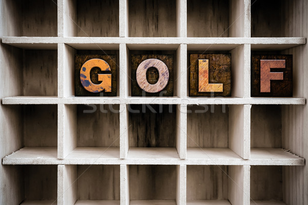 Golf Concept Wooden Letterpress Type in Draw Stock photo © enterlinedesign