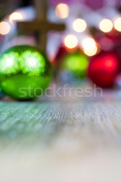Kolorowy christmas ozdoby Christian krzyż światła Zdjęcia stock © enterlinedesign
