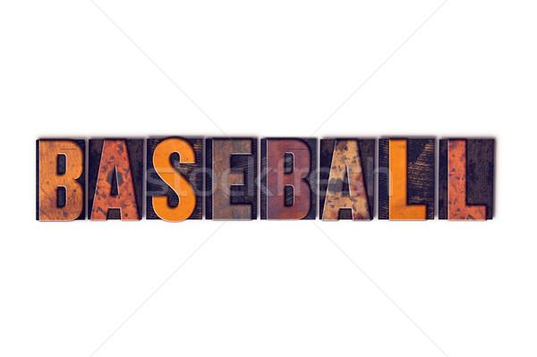 Stockfoto: Baseball · geïsoleerd · type · woord · geschreven