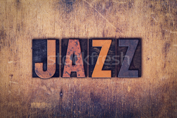 Jazz bois type mot écrit Photo stock © enterlinedesign