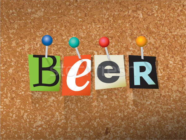 Beer Pinned Paper Concept Illustration Stock photo © enterlinedesign
