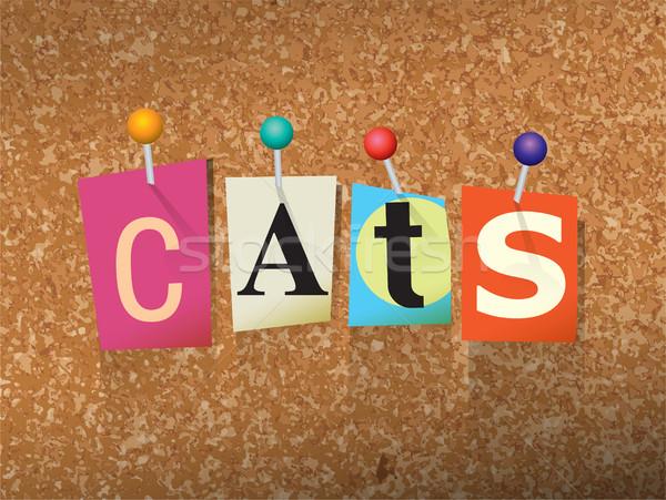 Сток-фото: кошек · письма · иллюстрация · слово · написанный · Cut