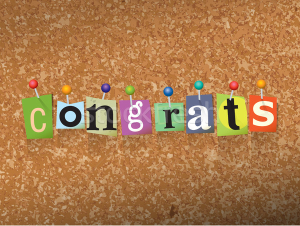 Congrats Concept Pinned Letters Illustration Stock photo © enterlinedesign