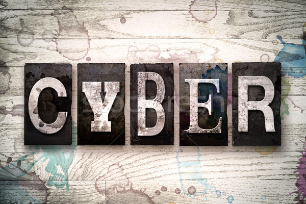 Cyber Concept Metal Letterpress Type Stock photo © enterlinedesign