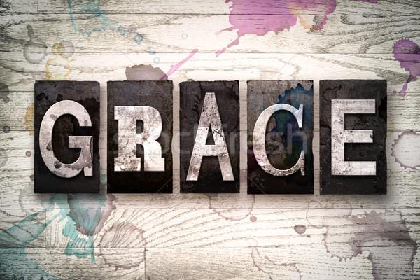 Grace Concept Metal Letterpress Type Stock photo © enterlinedesign