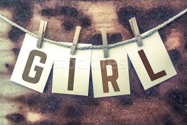 Lány kártyák zsinór szó öreg darab Stock fotó © enterlinedesign