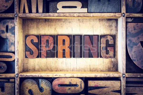 Spring Concept Letterpress Type Stock photo © enterlinedesign