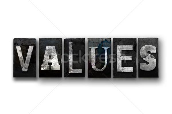Wartości odizolowany typu słowo napisany Zdjęcia stock © enterlinedesign