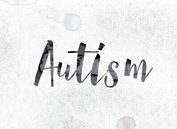 Autismus gemalt Tinte Wort Wasserfarbe weiß Stock foto © enterlinedesign