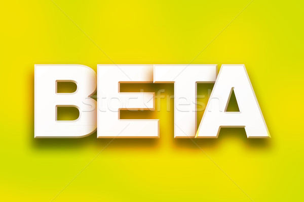 Beta kleurrijk woord kunst geschreven witte Stockfoto © enterlinedesign