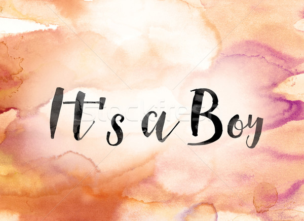 It's a Boy Colorful Watercolor and Ink Word Art Stock photo © enterlinedesign