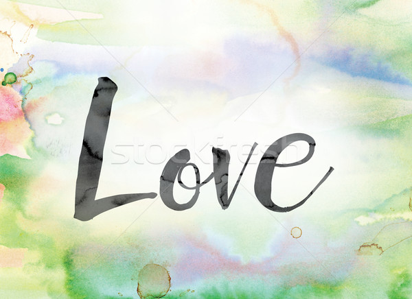 Love Colorful Watercolor and Ink Word Art Stock photo © enterlinedesign