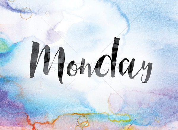 Monday Colorful Watercolor and Ink Word Art Stock photo © enterlinedesign