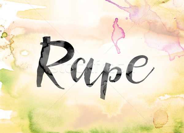 Rape Colorful Watercolor and Ink Word Art Stock photo © enterlinedesign