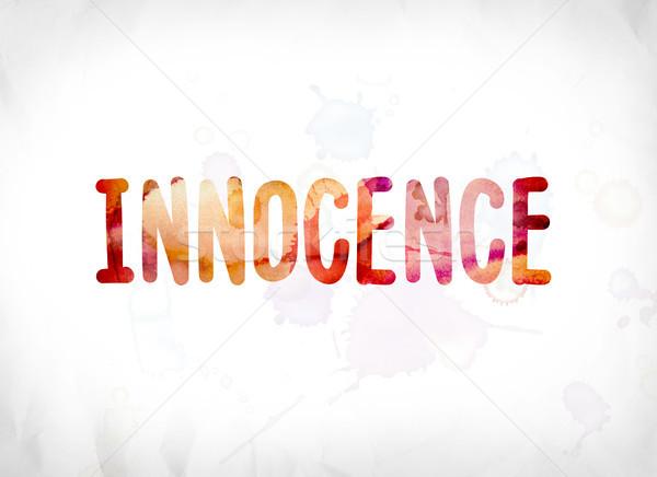 невиновность окрашенный акварель слово искусства красочный Сток-фото © enterlinedesign