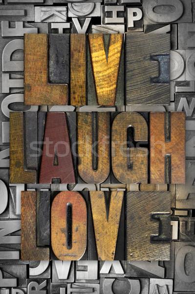 Viver rir amor palavras escrito vintage Foto stock © enterlinedesign