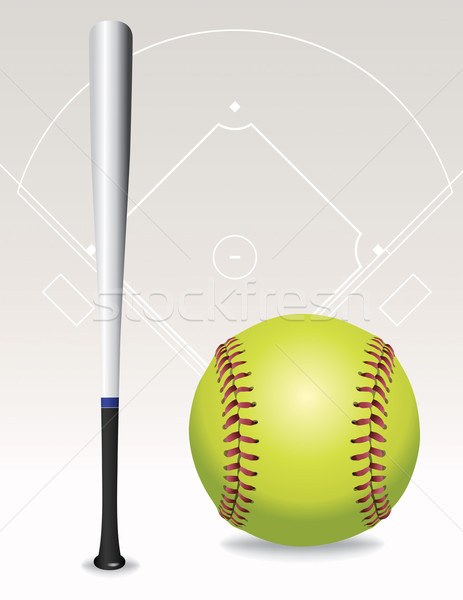 Softball domaine balle bat illustration vecteur Photo stock © enterlinedesign