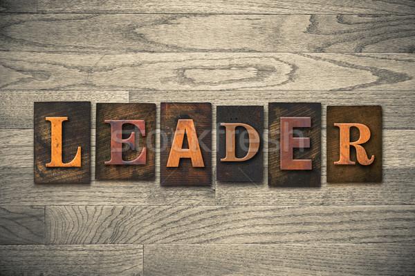Líder palavra escrito vintage Foto stock © enterlinedesign