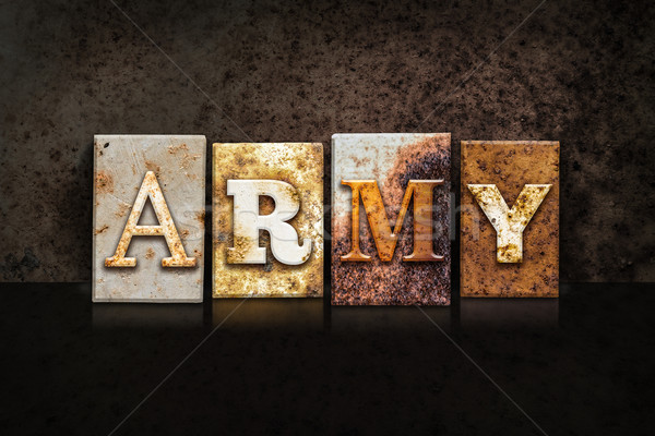 Army Letterpress Concept on Dark Background Stock photo © enterlinedesign