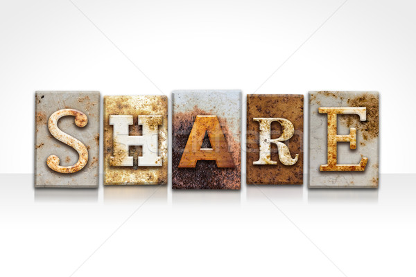 Share Letterpress Concept Isolated on White Stock photo © enterlinedesign