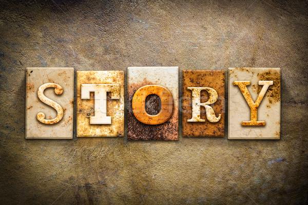 öykü deri kelime yazılı paslı Stok fotoğraf © enterlinedesign