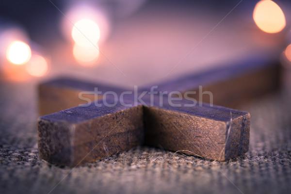 Christian krzyż święty drewna Zdjęcia stock © enterlinedesign