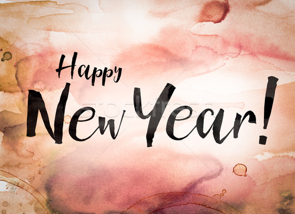 Happy New Year Concept Watercolor Theme Stock photo © enterlinedesign