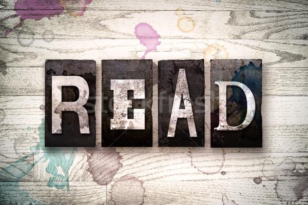 Lezen metaal type woord geschreven Stockfoto © enterlinedesign
