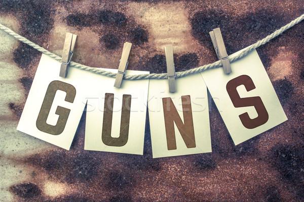 Fegyverek kártyák zsinór szó öreg darab Stock fotó © enterlinedesign