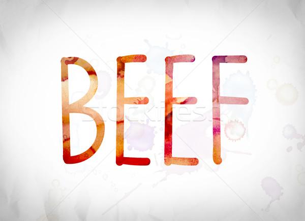 Beef Concept Watercolor Word Art Stock photo © enterlinedesign