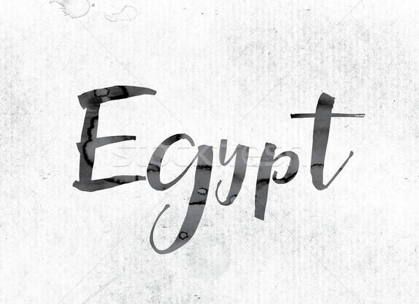 エジプト 描いた インク 言葉 水彩画 白 ストックフォト © enterlinedesign