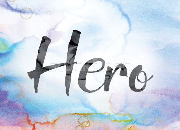 Hero Colorful Watercolor and Ink Word Art Stock photo © enterlinedesign