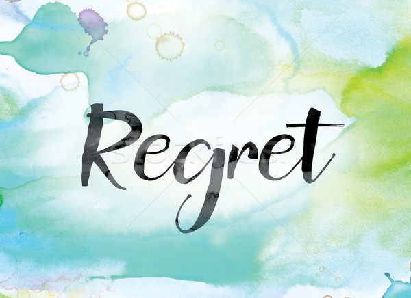 Regret Colorful Watercolor and Ink Word Art Stock photo © enterlinedesign