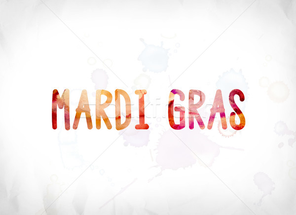 Mardi Gras Concept Painted Watercolor Word Art Stock photo © enterlinedesign