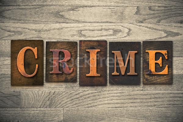 Crime bois type mot écrit Photo stock © enterlinedesign