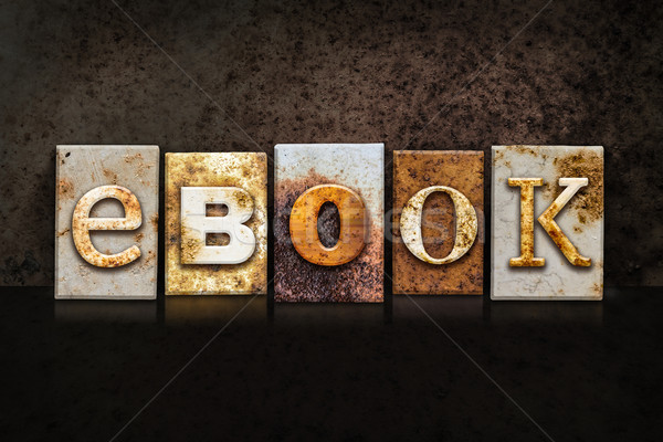 eBook Letterpress Concept on Dark Background Stock photo © enterlinedesign
