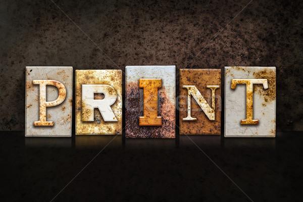 Print Letterpress Concept on Dark Background Stock photo © enterlinedesign