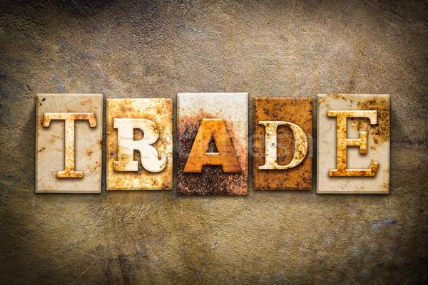 Ticaret deri kelime yazılı paslı Stok fotoğraf © enterlinedesign
