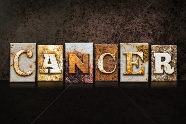 Cancro buio parola scritto arrugginito Foto d'archivio © enterlinedesign