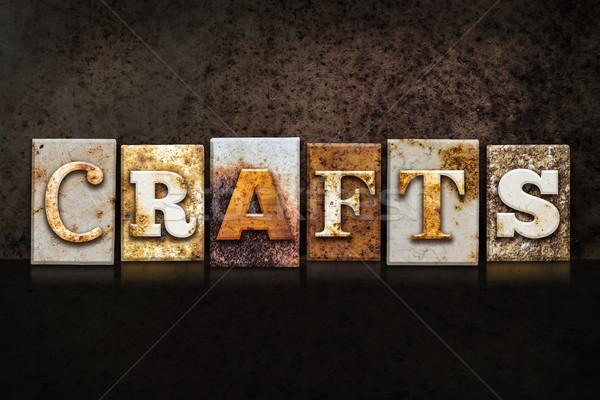 ремесла темно слово написанный ржавые Сток-фото © enterlinedesign