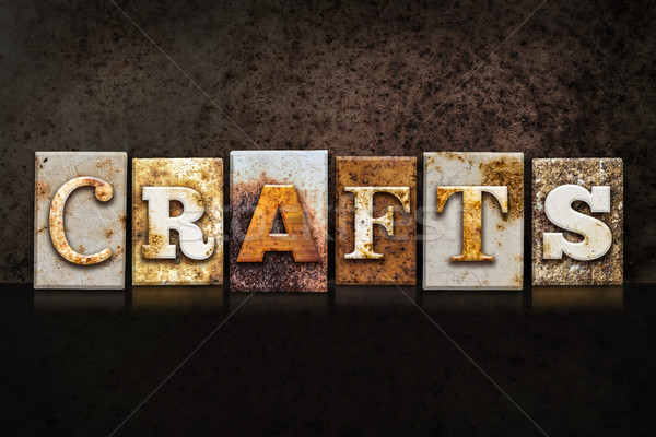 Crafts Letterpress Concept on Dark Background Stock photo © enterlinedesign