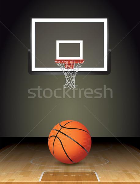 Basketbol sahası top örnek basketbol parke mahkeme Stok fotoğraf © enterlinedesign