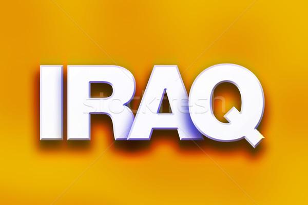 Irak kleurrijk woord kunst geschreven witte Stockfoto © enterlinedesign